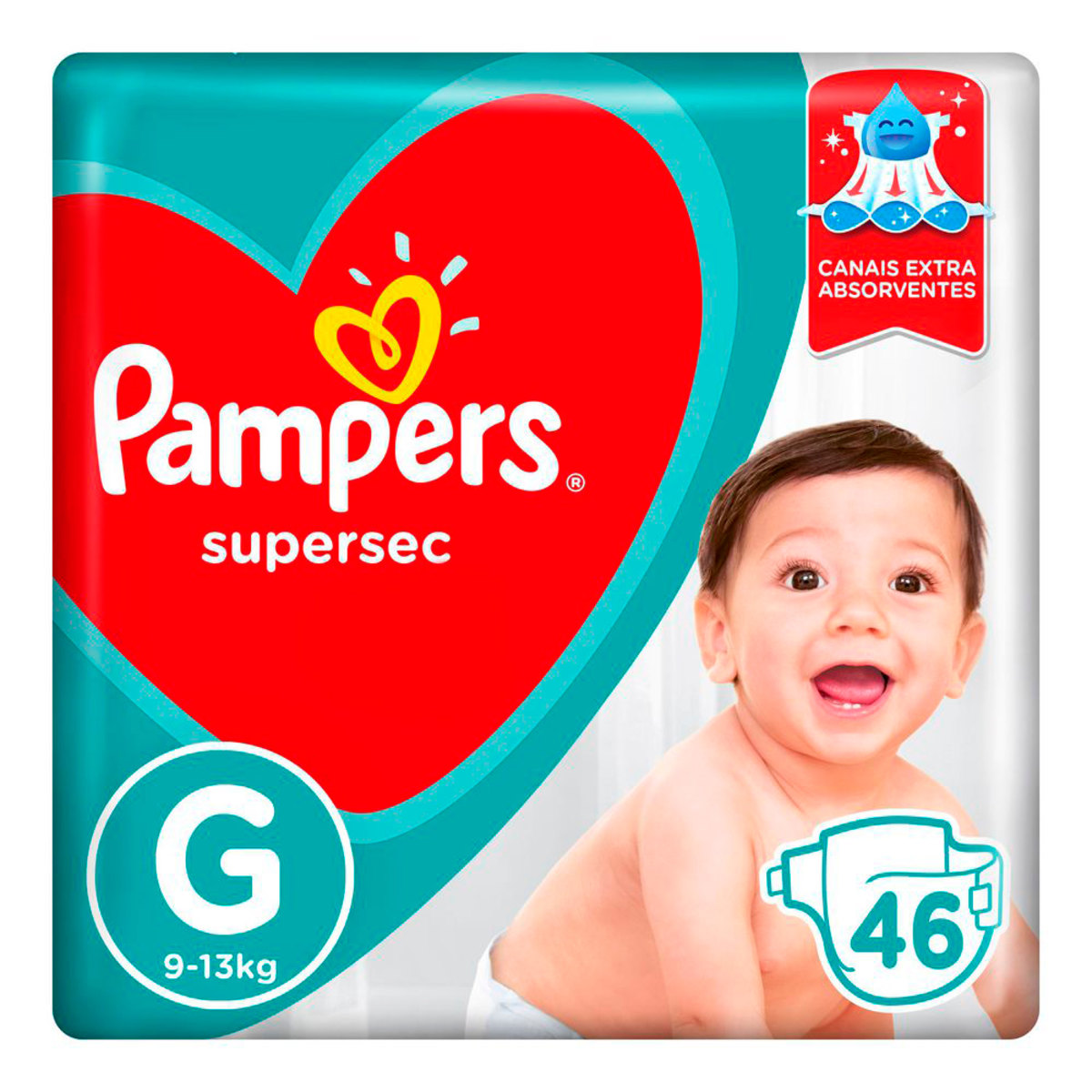 Fraldas Pampers Supersec G - 46 Unidades