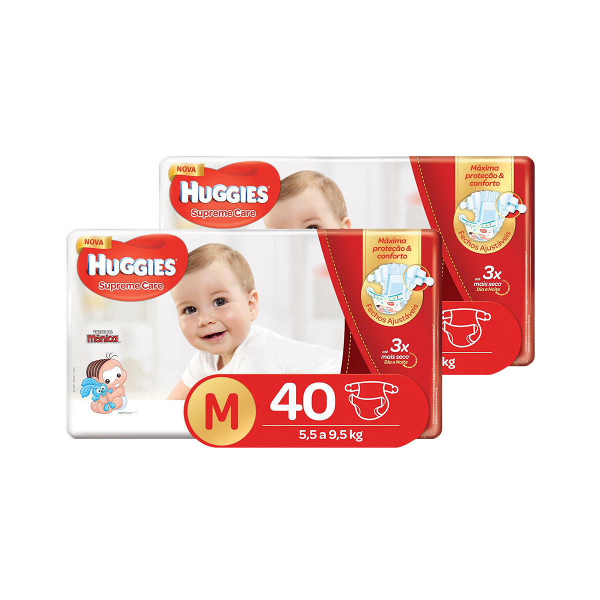 Kit De Fraldas Huggies M Supreme Care Mega 80 Unidades