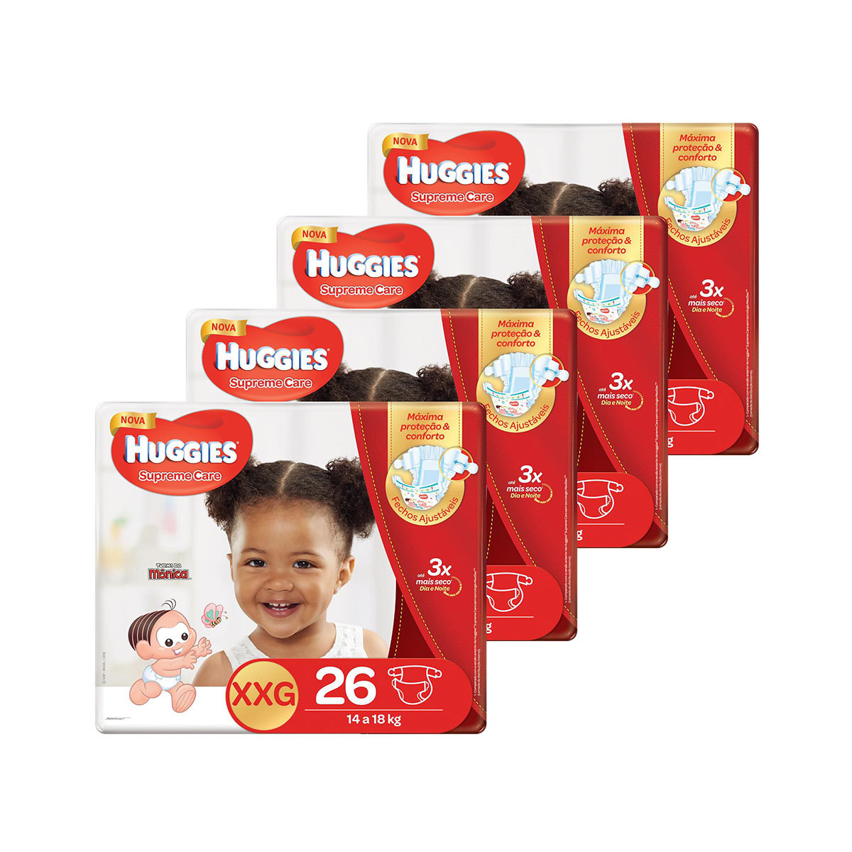 Kit De Fraldas Huggies Xxg Supreme Care Mega 104 Unidades