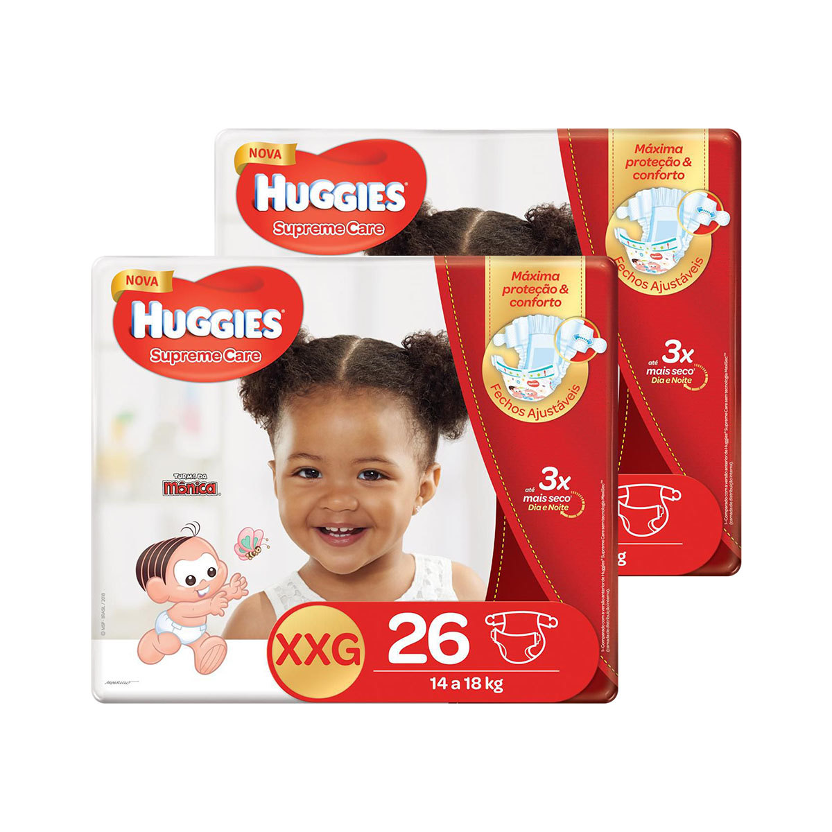 Kit De Fraldas Huggies Xxg Supreme Care Mega 52 Unidades