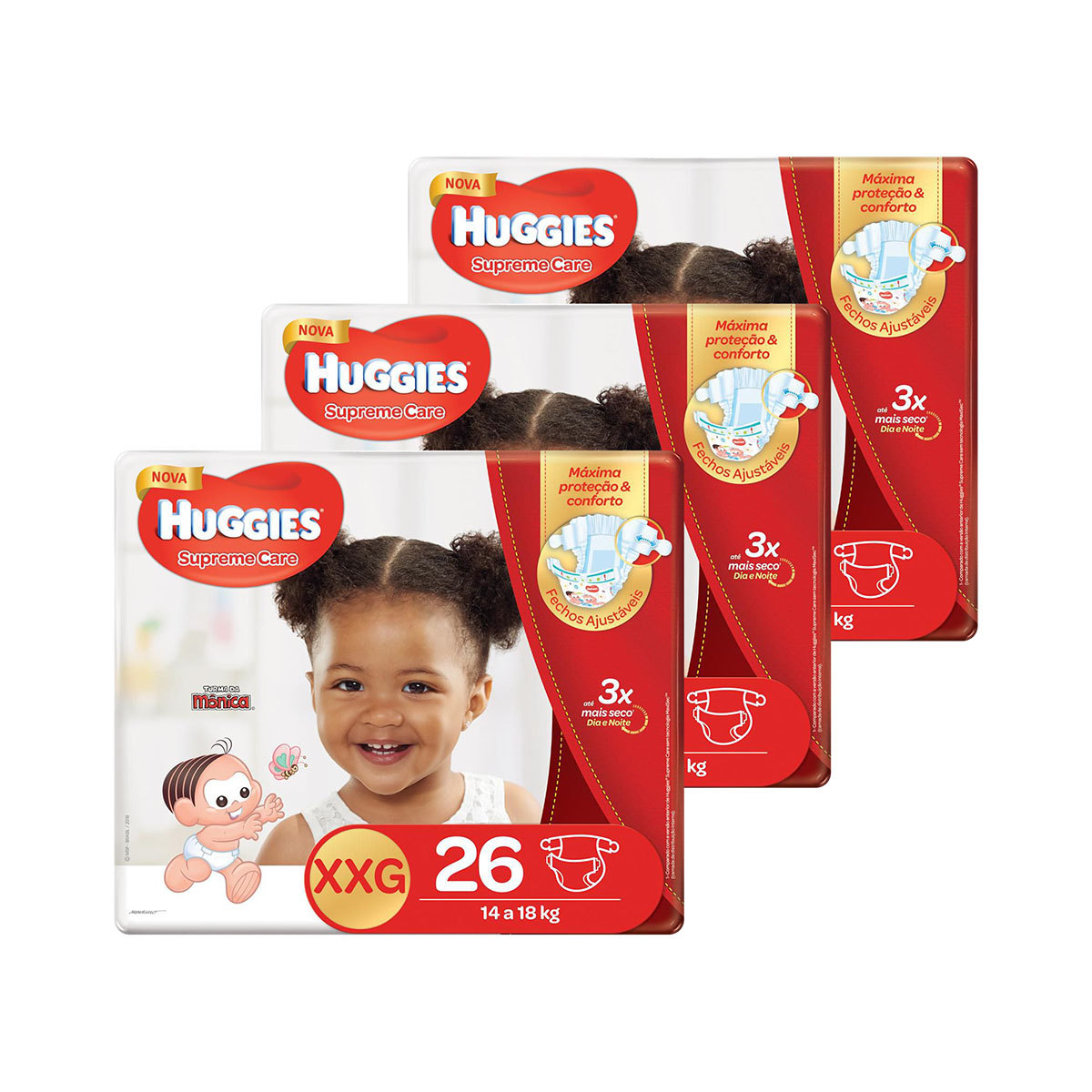 Kit De Fraldas Huggies Xxg Supreme Care Mega 78 Unidades
