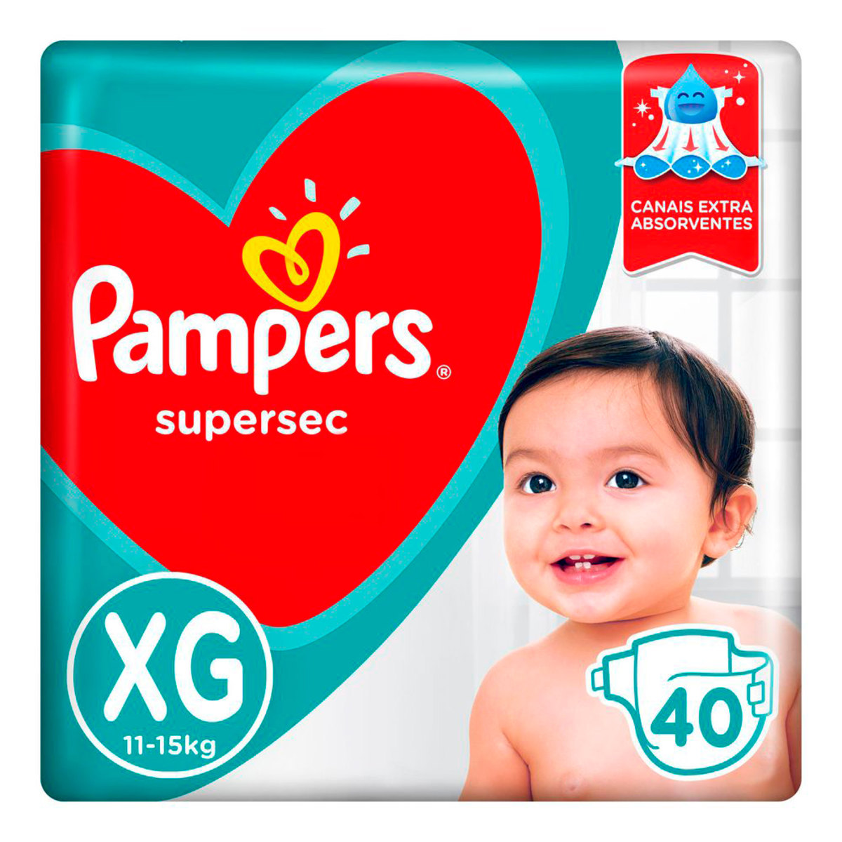 Fraldas Pampers Supersec Xg - 40 Unidades