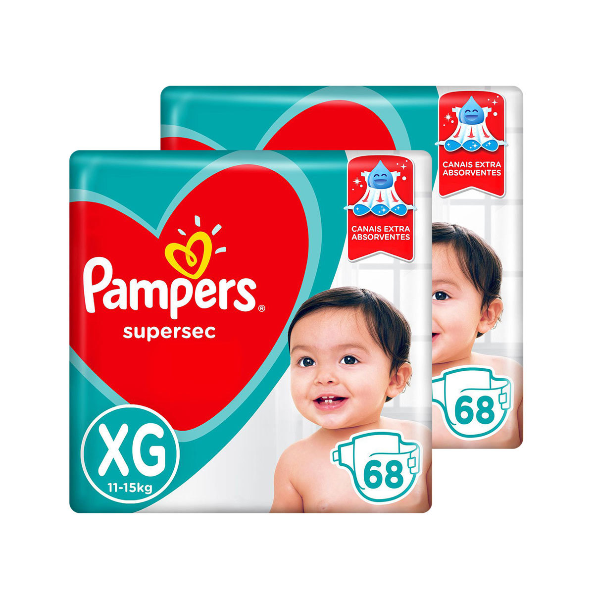 Kit De Fraldas Pampers Xg Supersec Jumbo 136 Unidades