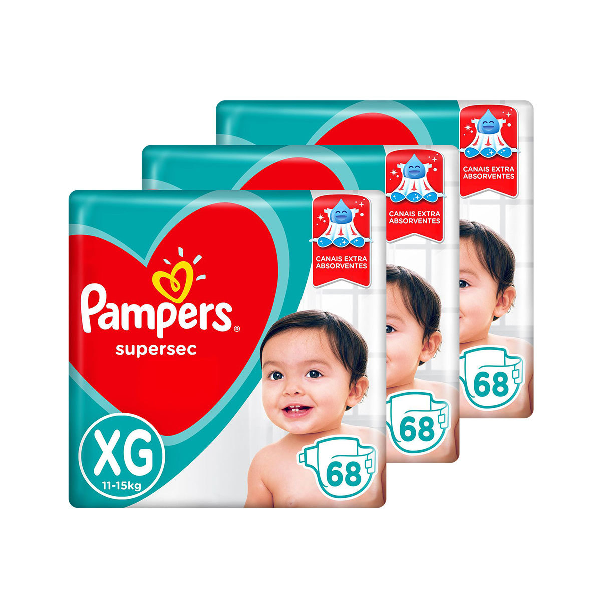 Kit De Fraldas Pampers Xg Supersec Jumbo 204 Unidades