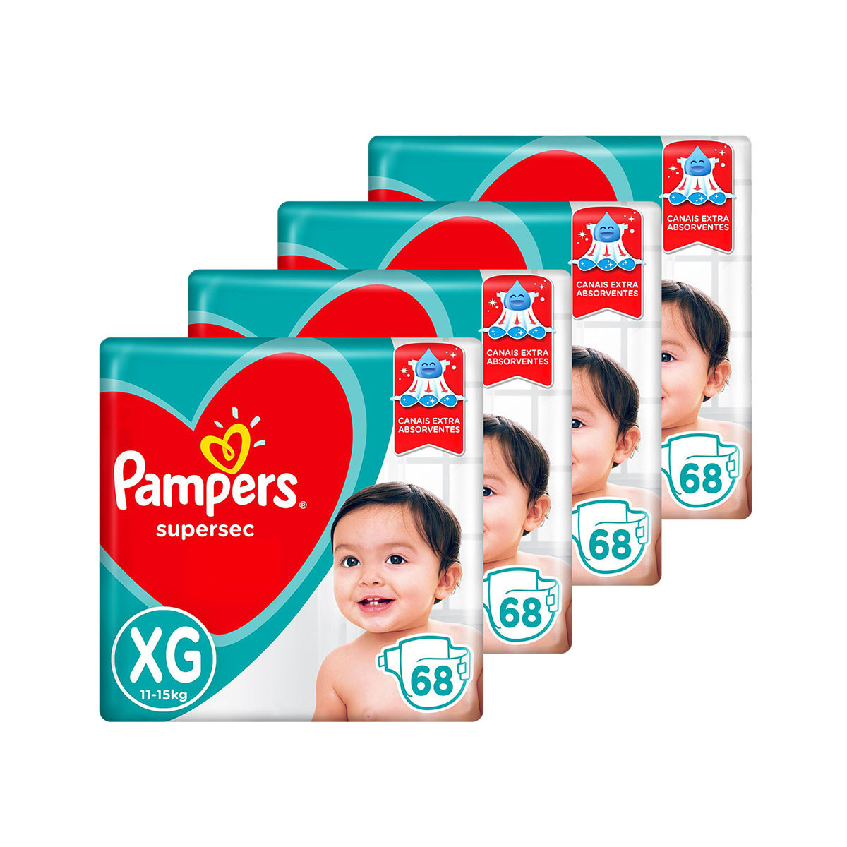 Kit De Fraldas Pampers Xg Supersec Jumbo 272 Unidades
