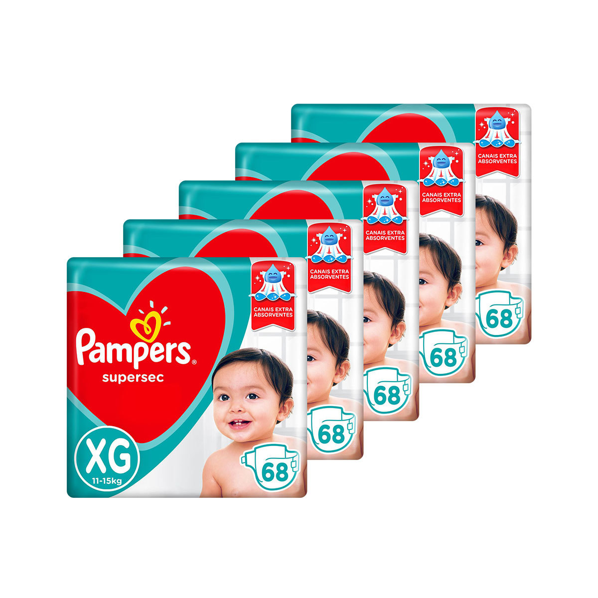 Kit De Fraldas Pampers Xg Supersec Jumbo 340 Unidades