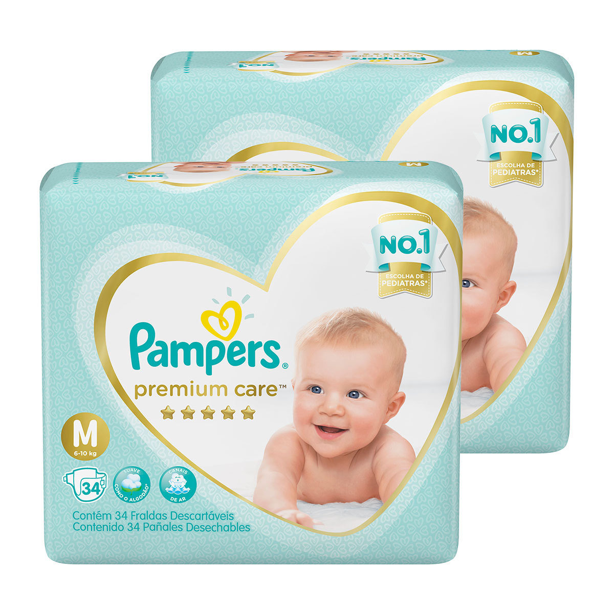 Kit De Fraldas Pampers Premium Care Mega M - 68 Unidades