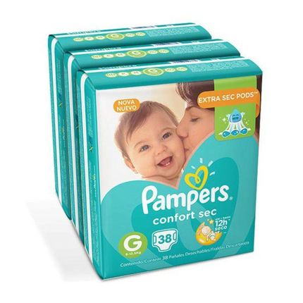 Kit Fraldas Pampers Confort Sec G- Mega 3 X 38un.