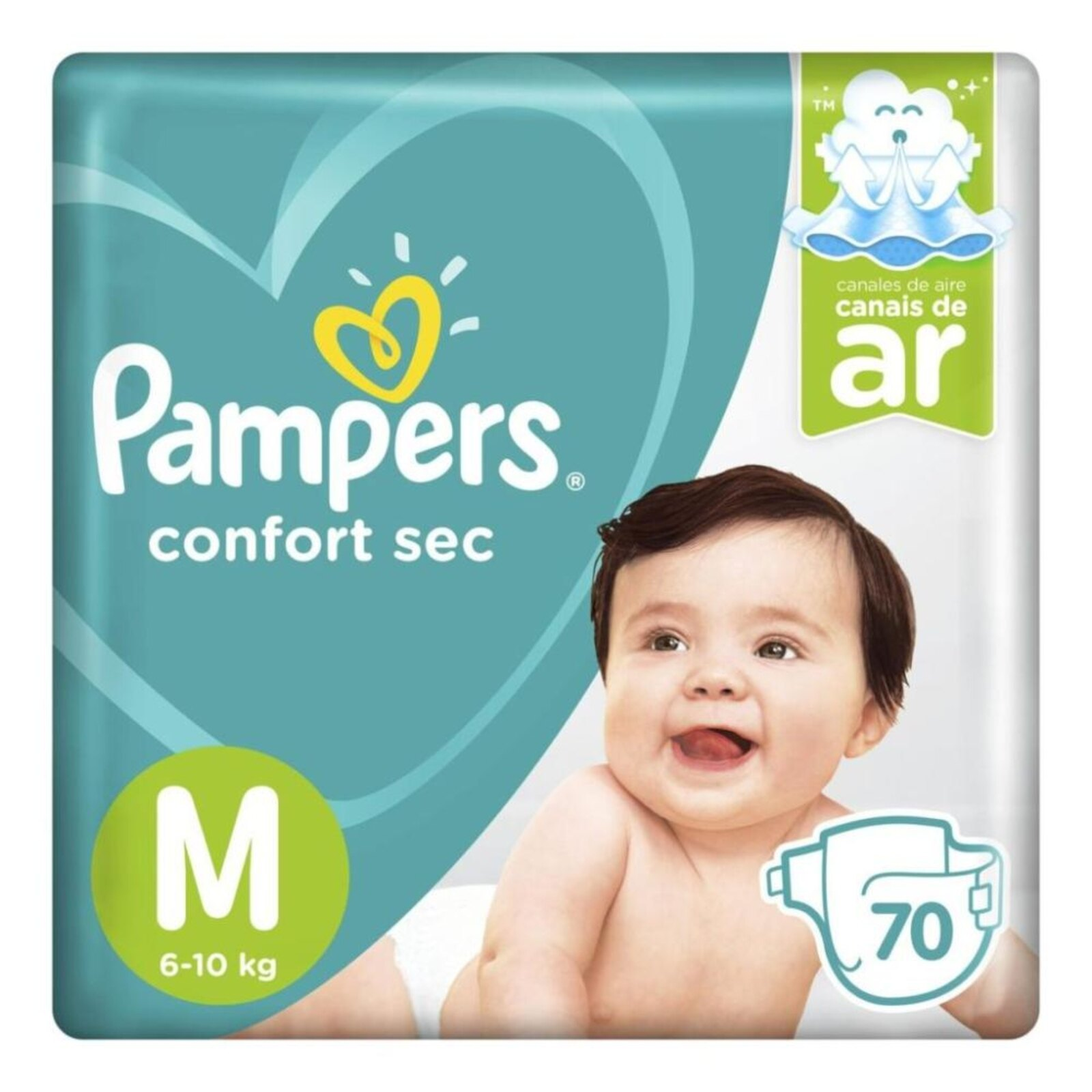 Fralda Pampers Confort Sec Super - M 70 tiras