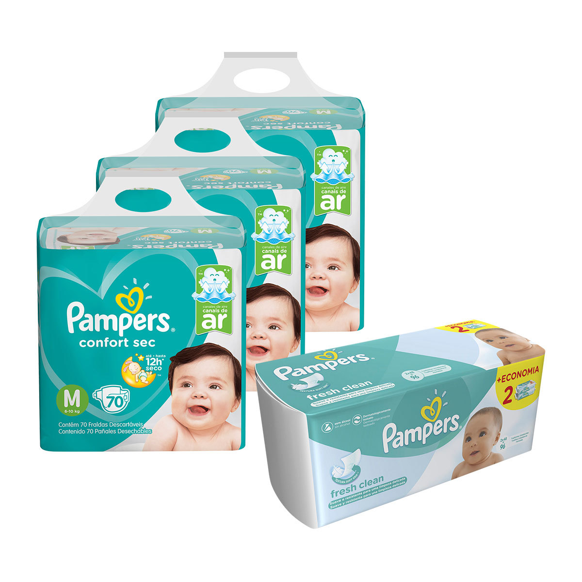 Kit Pampers - Fralda M Confort Sec Super 210 Un + Lenço Umedecido Fresh Clean 96 Un