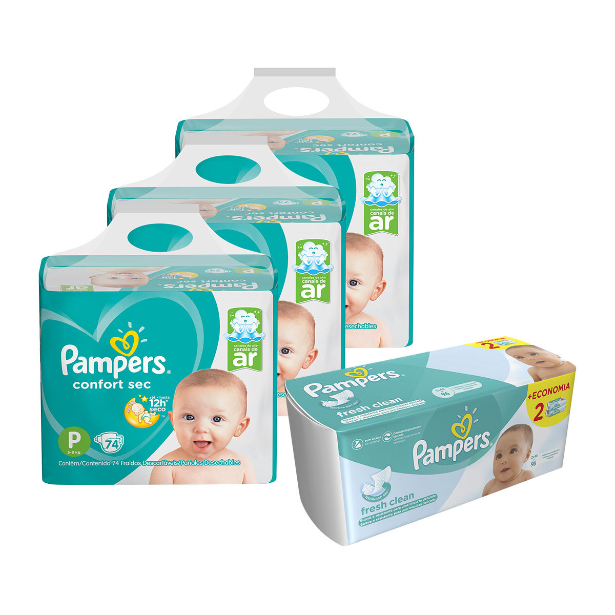 Kit Pampers - Fralda P Confort Sec Super 222 Un + Lenço Umedecido Fresh Clean 96 Un